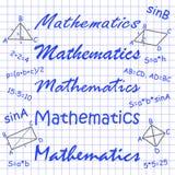 数学不同的手,在笔记本板料的惯例 免版税库存照片