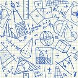 数学乱画无缝的样式 免版税库存图片