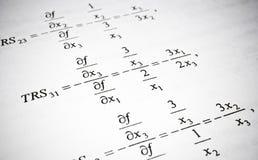 数学公式和演算。算术教育概念。 免版税库存照片