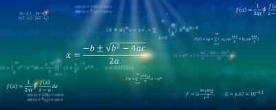 数学的配方 与漂浮在空间的算术等式的抽象背景 盖子的,介绍样式 皇族释放例证