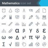 数学线象设置了-算盘,统治者,计算器,图, pi,三角,血窦 免版税库存照片