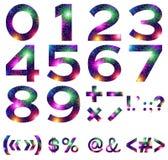 数学被设置的数字和标志 免版税库存照片