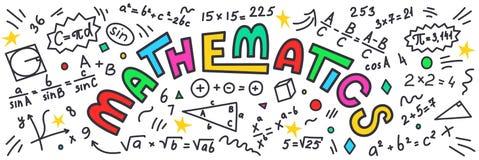 数学 与五颜六色的字法的算术乱画在白色背景 皇族释放例证
