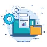 数据中心便携式计算机文件夹文件信息工作 皇族释放例证