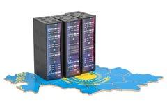 数据中心服务器在哈萨克斯坦概念, 3D折磨翻译 免版税库存照片