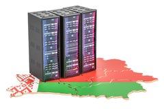 数据中心服务器在白俄罗斯概念, 3D折磨翻译 库存图片