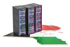 数据中心服务器在科威特概念, 3D折磨翻译 免版税库存图片