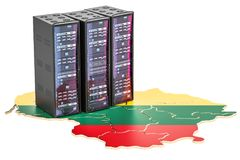 数据中心服务器在立陶宛概念, 3D折磨翻译 库存照片
