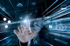 数据交换商人感人的全球网络 图库摄影