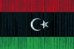 数据保护利比亚旗子 与二进制编码的利比亚旗子 库存图片