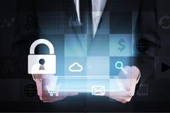 数据保护和网络安全概念在虚屏上 库存照片