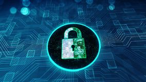 数据保护网络与锁象的安全概念在网络空间 库存例证