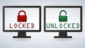 数据保护,互联网infographic安全的概念 安全的网络 导航锁计算机在白色隔绝的显示器屏幕 fla 向量例证