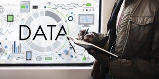 数据信息技术连接未来派概念 库存图片