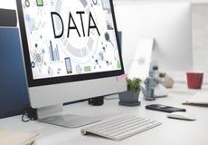 数据信息技术连接未来派概念 库存照片