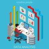 数据分析企业营销等量服务器的传染媒介平的3d 免版税库存照片