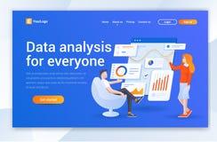 数据分析公司着陆页设计 网页设计的现代平的设计例证概念网站的 向量例证