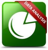 数据分析图表象绿色正方形按钮 免版税库存图片