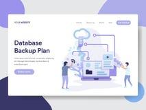 数据库备用计划例证概念登陆的页模板  网页设计的现代平的设计观念网站的和 库存例证