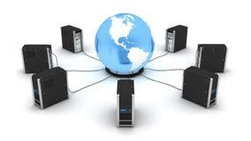 数据库服务器和地球 皇族释放例证