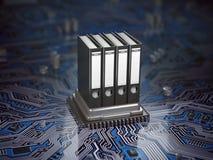 数据库档案数据存储概念 在CPU处理器的黏合剂 库存照片
