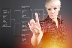 数据库表技术概念,指向屏幕的女孩 免版税库存照片