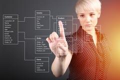数据库表技术概念,指向屏幕的女孩 库存照片