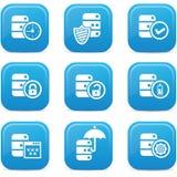 数据库,数据中心和数据存储象,蓝色版本 免版税库存照片