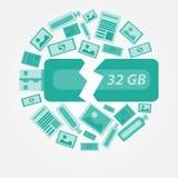 数据或信息失去的绿色传染媒介 免版税库存图片