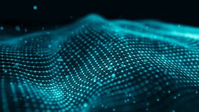 数据技术例证 挥动与连接的小点和线在黑暗的背景 微粒波浪  3d翻译 向量例证