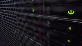 数据服务器,当工作时 硬盘驱动器机架 服务器关闭 现代的datacenter 股票视频
