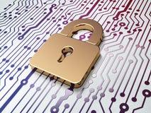数据概念:在电路板背景的挂锁 库存图片