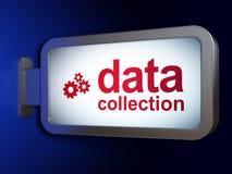 数据概念:搜集数据和齿轮在广告牌背景 库存例证