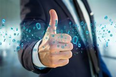数据的网络连接与0个和1个数字- 3d回报 免版税库存照片
