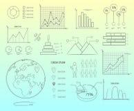 数据的视觉表示法在图表概述的 免版税库存图片