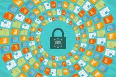 数据科学和通信与安全概念 向量例证