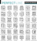 数据科学技术概述微型概念标志 机器学习处理现代冲程线性样式例证 库存例证