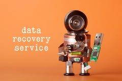 数据补救服务概念 机器人字符用usb闪光棍子 乐趣玩具黑色盔甲头绿色存贮芯片 免版税库存图片
