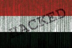 数据被乱砍的也门旗子 与二进制编码的也门旗子 免版税图库摄影