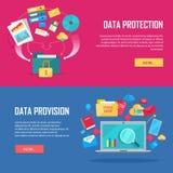 数据设置保护和供应网横幅 免版税图库摄影