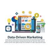 数据驱动销售方针 在平的样式的网模板 业务发展,主角一代,收支增量 商业增长 免版税库存照片