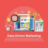 数据驱动销售方针 在平的样式的网横幅 带领一代,赢利,企业与象的成长概念 事务gr 免版税图库摄影