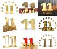 数集十一年的11年庆祝设计 您的生日聚会的周年金黄数字模板元素 3d il 向量例证