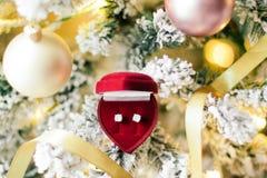 敲响响铃,它\'s圣诞节-她的节日礼物 免版税库存图片