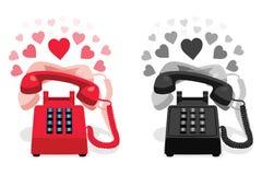 敲响的固定式电话有按钮键盘的和有心脏的 库存图片