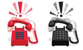 敲响的固定式电话有按钮键盘的和有惊叹号的 库存图片