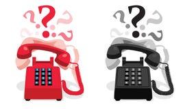 敲响的固定式电话有按钮键盘的和有问号的 免版税库存图片