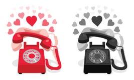 敲响的固定式电话有轮循拨号的和有心脏的 免版税库存图片