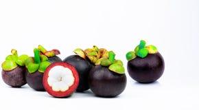 7整个紫色在白色背景隔绝的山竹果树和另一个横断面 果子热带的泰国 果子的女王/王后 库存图片