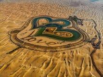 整个Love湖迪拜鸟瞰图Al的Qudra 库存图片